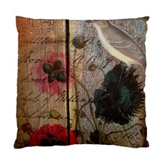 Vintage Bird Poppy Flower Botanical Art Cushion Case (Single Sided)