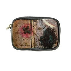 Vintage Bird Poppy Flower Botanical Art Coin Purse