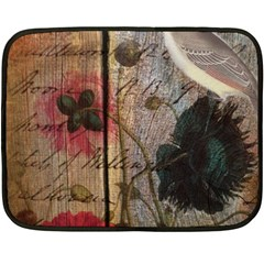 Vintage Bird Poppy Flower Botanical Art Mini Fleece Blanket (Two Sided)