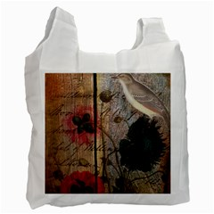 Vintage Bird Poppy Flower Botanical Art Recycle Bag (two Sides)