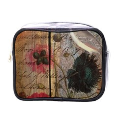 Vintage Bird Poppy Flower Botanical Art Mini Travel Toiletry Bag (one Side)