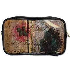 Vintage Bird Poppy Flower Botanical Art Travel Toiletry Bag (Two Sides)