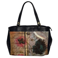Vintage Bird Poppy Flower Botanical Art Oversize Office Handbag (Two Sides)