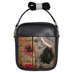 Vintage Bird Poppy Flower Botanical Art Girl s Sling Bag
