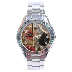 Vintage Bird Poppy Flower Botanical Art Stainless Steel Watch (Men s)