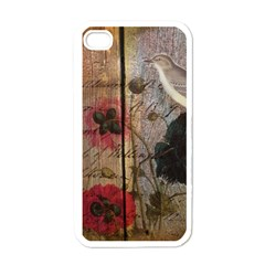 Vintage Bird Poppy Flower Botanical Art Apple iPhone 4 Case (White)
