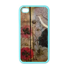 Vintage Bird Poppy Flower Botanical Art Apple iPhone 4 Case (Color)