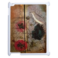 Vintage Bird Poppy Flower Botanical Art Apple iPad 2 Case (White)
