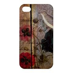 Vintage Bird Poppy Flower Botanical Art Apple iPhone 4/4S Premium Hardshell Case