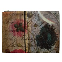Vintage Bird Poppy Flower Botanical Art Cosmetic Bag (XXL)
