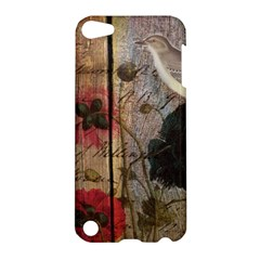 Vintage Bird Poppy Flower Botanical Art Apple Ipod Touch 5 Hardshell Case