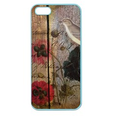Vintage Bird Poppy Flower Botanical Art Apple Seamless iPhone 5 Case (Color)