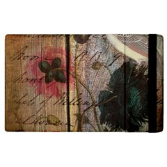 Vintage Bird Poppy Flower Botanical Art Apple iPad 3/4 Flip Case