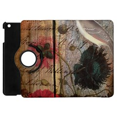 Vintage Bird Poppy Flower Botanical Art Apple iPad Mini Flip 360 Case