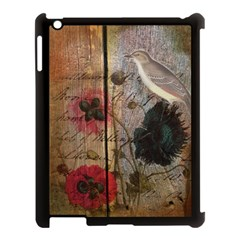 Vintage Bird Poppy Flower Botanical Art Apple iPad 3/4 Case (Black)