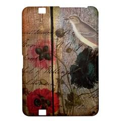 Vintage Bird Poppy Flower Botanical Art Kindle Fire Hd 8 9  Hardshell Case