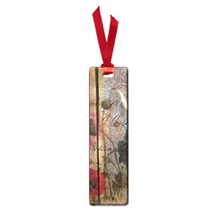 Vintage Bird Poppy Flower Botanical Art Small Bookmark