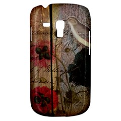 Vintage Bird Poppy Flower Botanical Art Samsung Galaxy S3 Mini I8190 Hardshell Case
