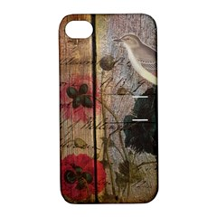 Vintage Bird Poppy Flower Botanical Art Apple iPhone 4/4S Hardshell Case with Stand