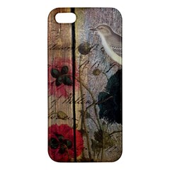 Vintage Bird Poppy Flower Botanical Art Iphone 5 Premium Hardshell Case