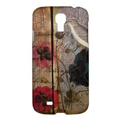 Vintage Bird Poppy Flower Botanical Art Samsung Galaxy S4 I9500/I9505 Hardshell Case