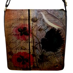 Vintage Bird Poppy Flower Botanical Art Flap Closure Messenger Bag (small)