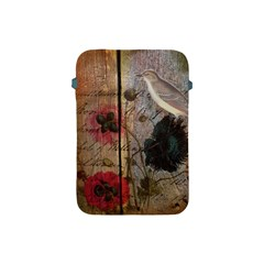 Vintage Bird Poppy Flower Botanical Art Apple Ipad Mini Protective Soft Case