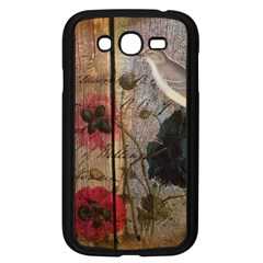 Vintage Bird Poppy Flower Botanical Art Samsung I9082(galaxy Grand Duos)(black)