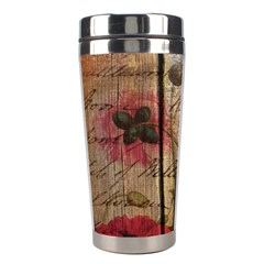 Vintage Bird Poppy Flower Botanical Art Stainless Steel Travel Tumbler