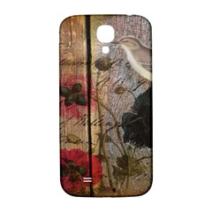 Vintage Bird Poppy Flower Botanical Art Samsung Galaxy S4 I9500/I9505  Hardshell Back Case