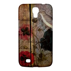 Vintage Bird Poppy Flower Botanical Art Samsung Galaxy Mega 6.3  I9200
