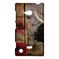 Vintage Bird Poppy Flower Botanical Art Nokia Lumia 720 Hardshell Case