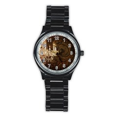 Tooled Leather Crystal Chandelier Vintage Paris Fashion Sport Metal Watch (Black)