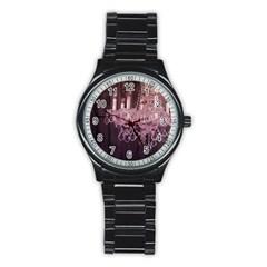Rustic Barn Wood Purple Chandelier Vintage Paris Fashion Sport Metal Watch (black)