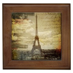 Elegant Vintage Paris Eiffel Tower Art Framed Ceramic Tile