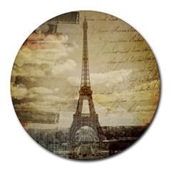 Elegant Vintage Paris Eiffel Tower Art 8  Mouse Pad (round)