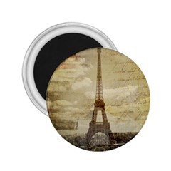 Elegant Vintage Paris Eiffel Tower Art 2.25  Button Magnet