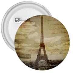 Elegant Vintage Paris Eiffel Tower Art 3  Button