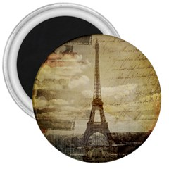 Elegant Vintage Paris Eiffel Tower Art 3  Button Magnet