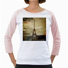 Elegant Vintage Paris Eiffel Tower Art Womens  Long Sleeve Raglan T Shirt (white)