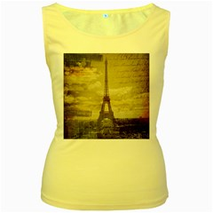 Elegant Vintage Paris Eiffel Tower Art Womens  Tank Top (Yellow)