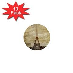 Elegant Vintage Paris Eiffel Tower Art 1  Mini Button Magnet (10 Pack)