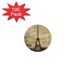 Elegant Vintage Paris Eiffel Tower Art 1  Mini Button Magnet (100 pack)