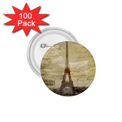 Elegant Vintage Paris Eiffel Tower Art 1.75  Button (100 pack)
