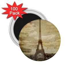 Elegant Vintage Paris Eiffel Tower Art 2 25  Button Magnet (100 Pack)