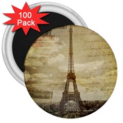 Elegant Vintage Paris Eiffel Tower Art 3  Button Magnet (100 pack)