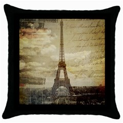 Elegant Vintage Paris Eiffel Tower Art Black Throw Pillow Case