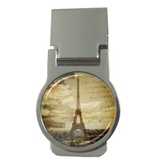 Elegant Vintage Paris Eiffel Tower Art Money Clip (Round)