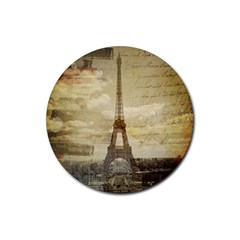 Elegant Vintage Paris Eiffel Tower Art Drink Coaster (Round)