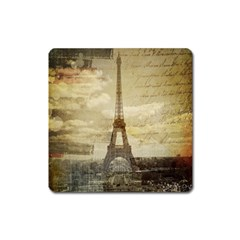 Elegant Vintage Paris Eiffel Tower Art Magnet (Square)